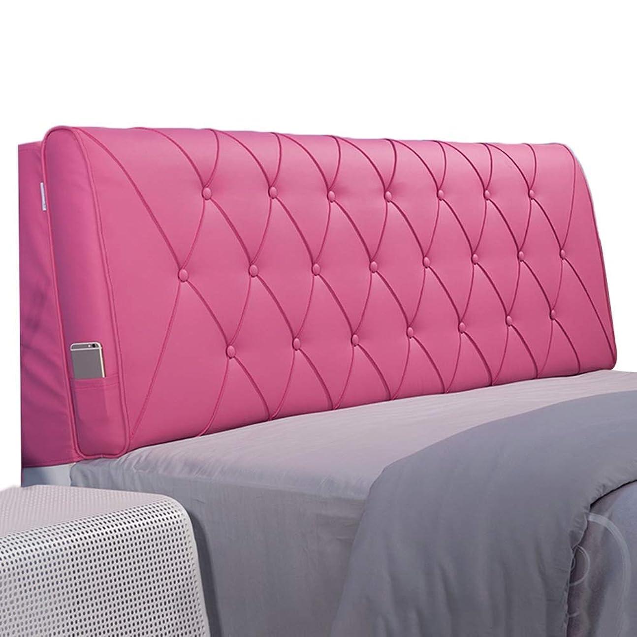 ありふれた添加剤促すWZBヘッドボードクッションシンプルスポンジアンチコリジョンピローアンチステイン防水読みやすい、4色、5サイズ(色:ピンク、サイズ:190x60x11cm)