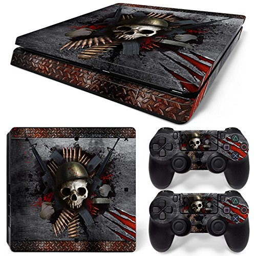 46 North Design Playstation 4 PS4 Slim Folie Skin Sticker Konsole Skull Metal aus Vinyl-Folie Aufkleber Und 2 x Controller folie
