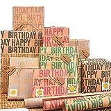 Larcenciel Kraft Geschenkpapier 6 Blatt, Geburtstag Geschenkverpackung Papier Brown Kraftpapier Verpackung Papier mit Etikett + Aufkleber + Packseil + Doppelseitiges Klebeband (70 x 50 cm)