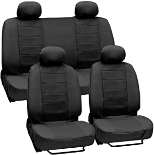 Motor Trend SC-4330-BK Black Premium Leatherette Car Seat Cover for Auto - Synthetic Leather - Center Perforated PU Front & Rear Set, 1 Pack