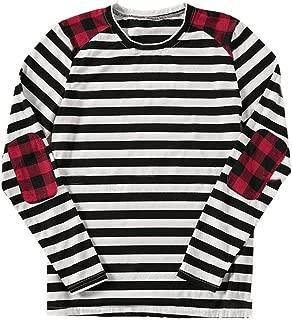 Buffalo Plaid Striped Shirt Women Elbow Patch Raglan Long Sleeve Tops Fashion Tops Tee