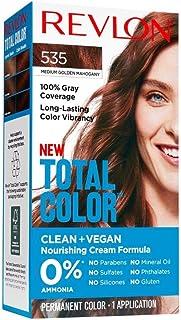 Revlon Total Color Permanent Hair Color, Clean and Vegan, 100% Gray Coverage Hair Dye, 535 Medium Golden Mahogany, 3.5 oz