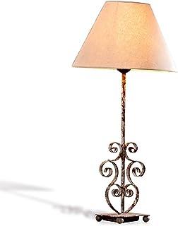 Loberon Lampe à poser Clamart - fer - H/D env. 56/26 cm - cuivré/lin