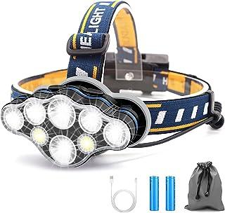 Linterna Frontal Led Recargable, Linterna Cabeza con 8 Modos, USB Súper Brillante Impermeable Con 2 Taterías, Linterna Fro...