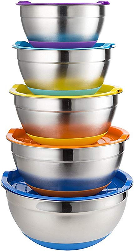 Set Of 5 Stainles Steel Mixing Bowls With Lids Non Slip Bottom