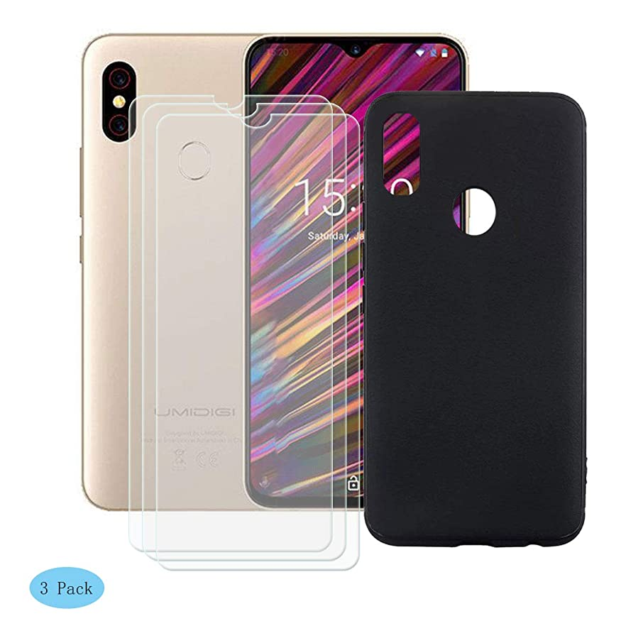 SZJCKJ Black Case + 3 Pack HD Screen Protector for UMIDIGI F1 (6,3