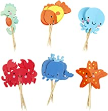 iMagitek 48 Pcs Ocean Sea Animal Cupcake Toppers for Under the Sea Theme Party and Kids Birthday Party