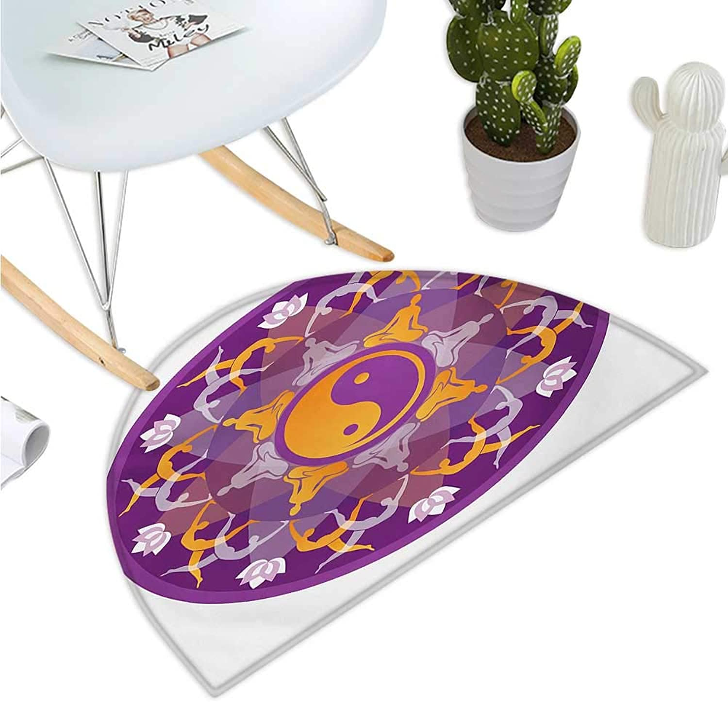 Yoga Semicircle Doormat Mandala Background Yoga Symbols and Positions Yin Yang Zen Meditation Pattern Halfmoon doormats H 43.3  xD 64.9  Purple White orange