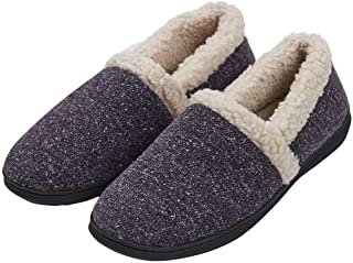 KAMOTAL Men's Cozy Memory Foam Slippers Fuzzy Plush Wool-Like Lining Slip on Indoor House Shoes Anti-Skid Rubber Sole