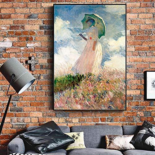 QWESFX Monet Frau mit einem Sonnenschirm Gemälde an der Wand Impressionist Mädchen Wandkunst Leinwand druckt Bilder für Wohnzimmer (Druck ohne Rahmen) A 35x70CM