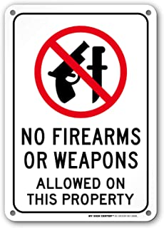 No Firearms Or Weapons Allowed On This Property Sign - 10