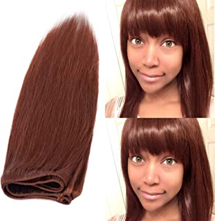 20inch Silky Straight Remy Human Hair Weave Dark Auburn #33 1 Bundle/100g 6A Unprocessed Virgin Brazilian Long Hair Weft Extensions for Afro American Women Party