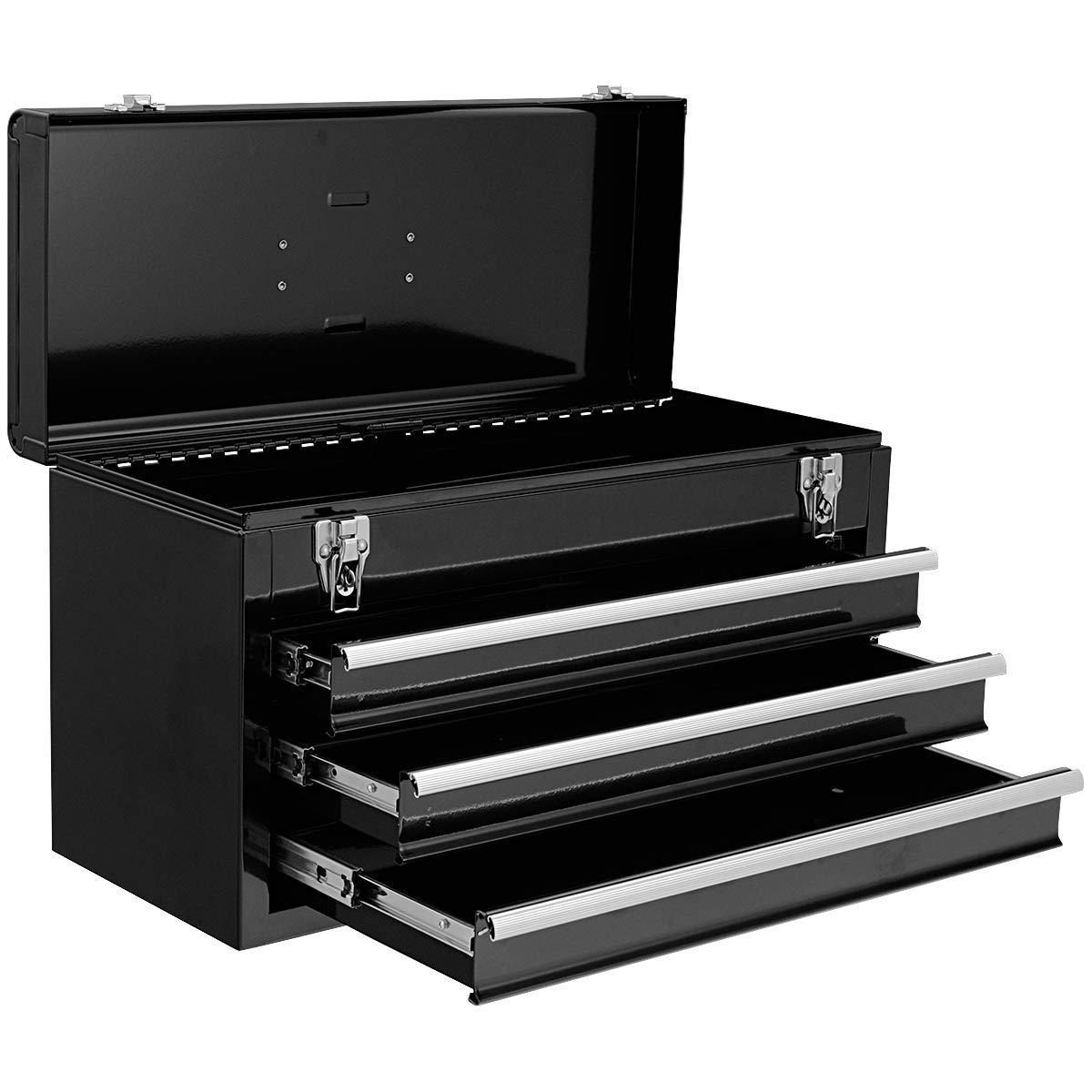 COSTWAY Caja de Herramientas Almacenamiento Metálica Portátil 3 Cajones + Bandeja 52x21,5x30cm (Negro): Amazon.es: Bricolaje y herramientas