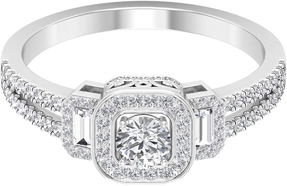 Rosec Jewels - 3/4 CT Moissanite Vintage Ring, Moissanite Halo Ring, Gold Engagement Ring, 14K Gold