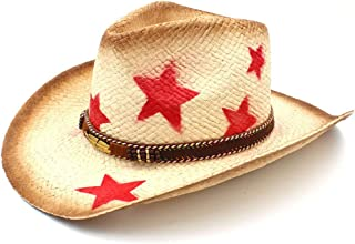 JAUROUXIYUJI New Men Straw Western Cowboy Hat with Punk Leaves Band Star Lady Dad Sombrero Hombre Cowgirl Jazz (Color : Natural, Size : 58cm)