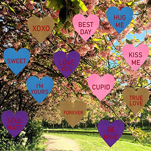 Valentine's Day Hanging Candy Hearts -Valentines Lawn Decorations -Valentines Yard Outdoor...