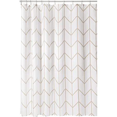 mDesign Decorative Herringbone Print - Easy Care Fabric Hotel Quality Shower Curtain with Reinforced Buttonholes, for Bathroom Showers, Stalls, and Bathtubs, Machine Washable - Cream/Beige