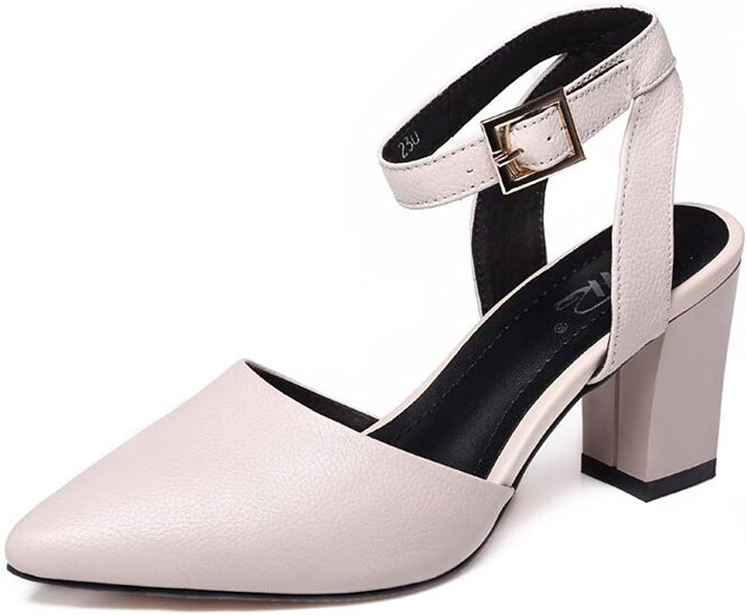 Summer shoes Pointed Leather High Heels Belt Buckle Leather Heel Sandals