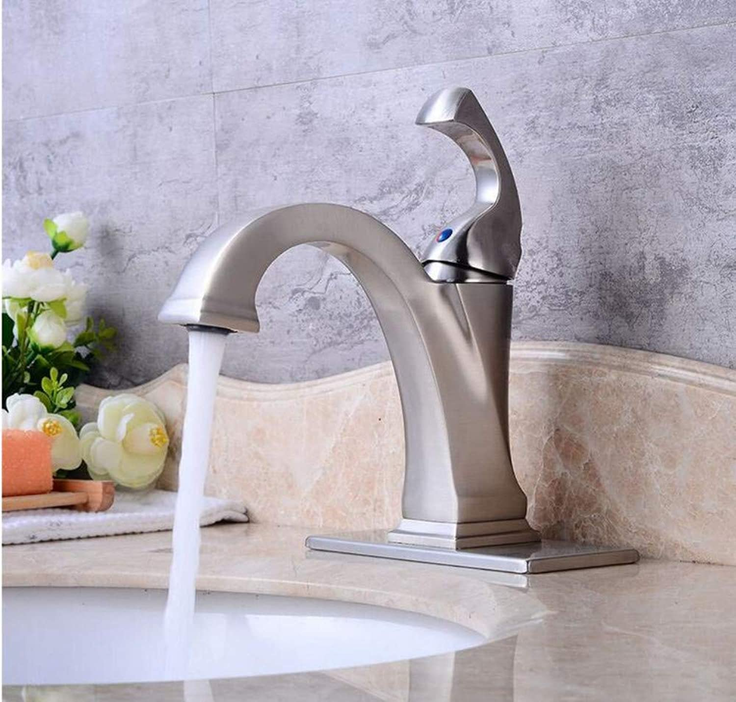 Luxury Modern Faucet Copper Hot and Cold Kitchen Sink Taps Modern Brushed Basin Faucet Bathroom Sink Basin Faucet