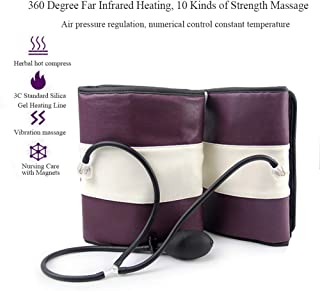 電動空気圧縮レッグマッサージ、ボディスリミングマッサージのための赤灯熱振動リラックス血行を促進痛みを軽減足のふくらはぎを3種類の強度でマッサージ,Eu plug