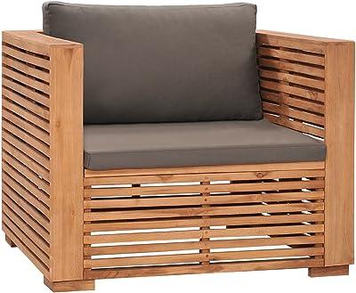 vidaXL Solid Teak Wood Garden Sofa Chair with Dark Grey Cushions Wooden Outdoor Patio Terrace Yard Seating Seat Sitting Chair Furniture