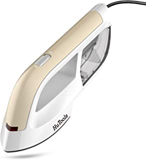 HuTools Steam Iron Handheld Garment Steamer with Ceramic Soleplate Steamer for Clothes 2 in 1 Flat and Hang Dry Wrinkle Remover Portable Ironing(Gold)