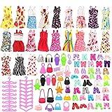 Festfun 60 Pièces Vêtements & Accessoires pour Poupée Fille de 11,5 Pouce (15 Robes Chics + 15 Chaussures + 15 Sacs à Main + 15 Cintres)