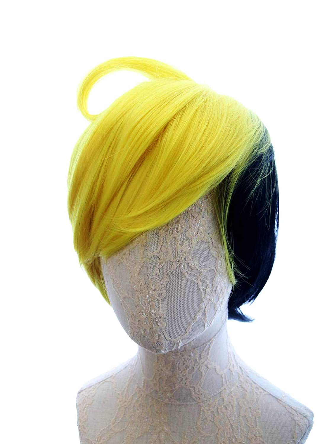 HANGCosplay Human Bill Cipher Short Yellow and Black Wig for Costume Cosplay Party and Daily Use