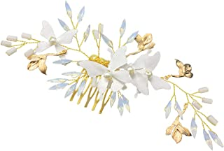Frcolor Bride Hair Combs Clips crystal butterfly Hair Jewelry Comb Wedding Headdress hair Accessories (Golden)