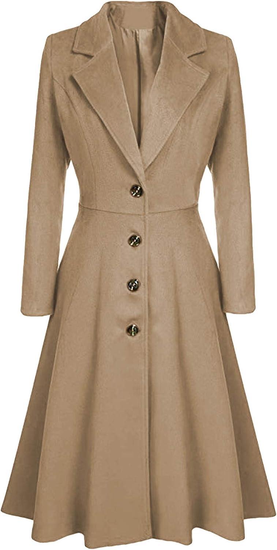 GRASWE Women's Fall Winter Warm Single Breasted Long Wool Coat Overcoat Thin Trench Coat Long Wrap Coat