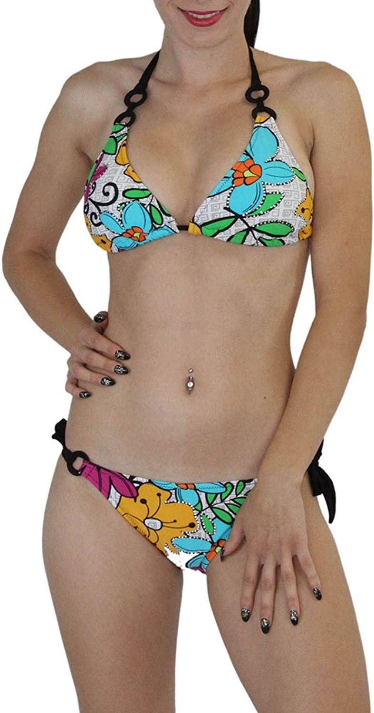 ToBeInStyle Women's Two Piece Digital Print With Rhinestone Bikini Set