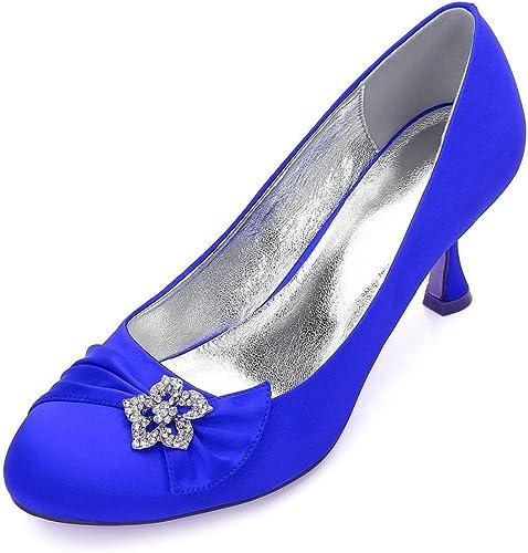 Zxstz mujeres Rhinestones Bombas Tacones Medio Satén Wedding Party Court zapatos zapatos de Trabajo de Fiesta Bombas