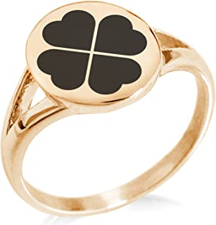 Tioneer Stainless Steel Four Leaf Clover Heart Minimalist Oval Top Polished Statement Ring