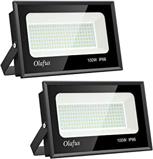 Olafus 2 Pack 100W Outdoor LED Flood Light, 11,000lm Super Bright Floodlights, 5000K Daylight White, IP66 Waterproof Exterior Floodlight for Lawn, Playground, Yard, Volleyball Playcourt