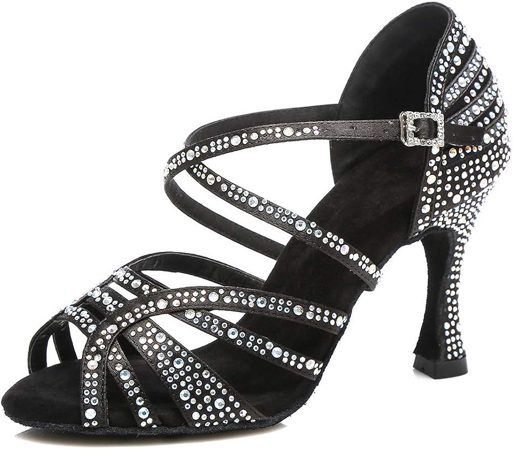 HROYL Women Oakland Mall Latin Ballroom Rhinestone security Dance Salsa Shoes
