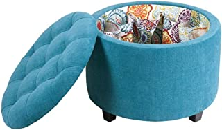 Wood & Style Sasha Round Ottoman with Shoe Holder Insert Comfy Living Home Décor Furniture Heavy Duty