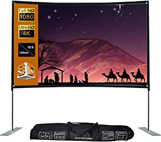 Ajcoflt 16:9 Projector Screen Stable Base Pipe Connection Home Theater Portable Outdoor Movie (120inch)