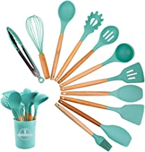 Silicone Kitchen Cooking Utensil Set with Holder,12 PCS Wooden Handles Cooking Tool BPA Free Non Toxic Turner Tongs Spatul...