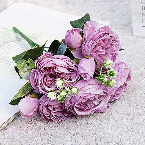 Hermosa Rosa peonía Flores de Seda Artificiales Ramo pequeñoFiesta en casa Primavera decoración de la BodaFlor Falsa - 4