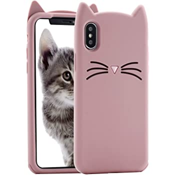 Cat iPhone Xs Max Case, Miniko(TM) Cute Kawaii Funny 3D Pink Meow Party Bread Cat Kitty Whiskers Protective Soft Rubber Case Skin for Apple iPhone Xs Max Teen Girls Women Girly Kid