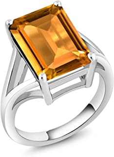 Gem Stone King 925 Sterling Silver Yellow Citrine Gemstone Birthstone Women's Solitaire Ring 8.20 Ctw Emerald Cut (Available 5,6,7,8,9)