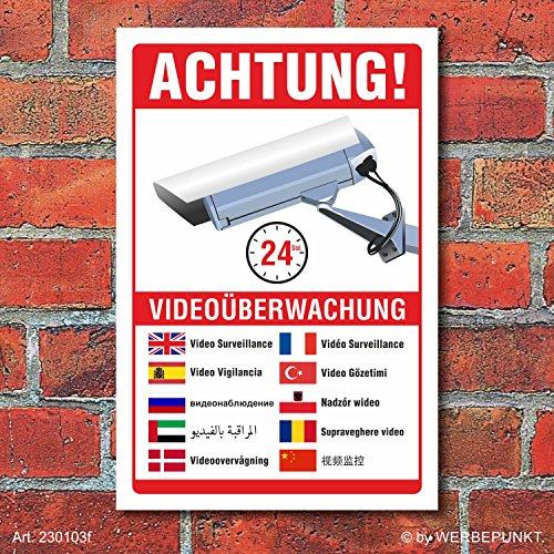 Schild Videoüberwachung Warnschild Hinweisschild 10 Sprachen 3 mm Alu-Verbund 600 x 400 mm