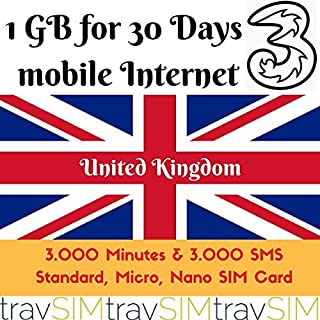 1GB+3000minutes+3000texts Prepaid Sim Card for UK/England/Great Britain Standard Nano Micro 3G 30 Days