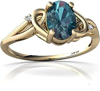 14kt Gold Lab Alexandrite and Diamond 7x5mm Oval Swirls Ring