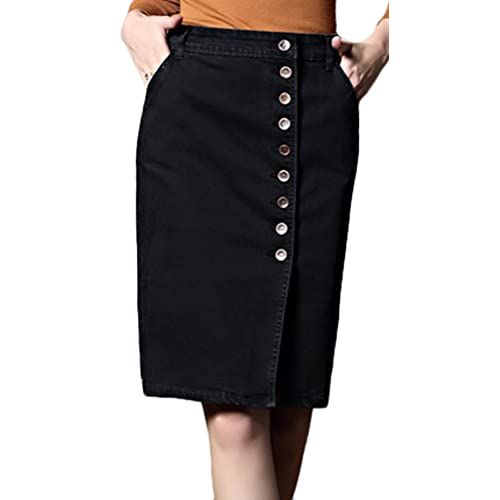 d4b73244aaf Youhan Women s Elastic Split High Waist Package Hip Midi Denim Skirt
