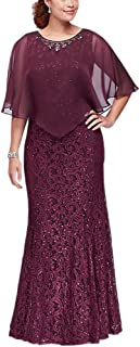 Full Lace Sheath Sequined Mother of The Bridal Dresses with Cape