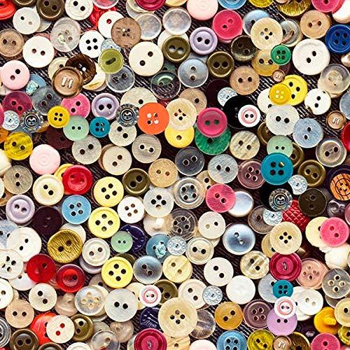 Tela por metros de loneta estampada digital - Half Panamá 100% algodón - Ancho 280 cm - Largo a elección de 50 en 50 cm | Botones de colores