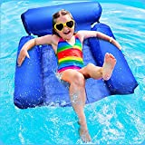 Abhsant Pool Floats for Adults,1 Pcs Inflatable Swimming Chair Foldable Water Lounge Chairs Lake Seats Lounger Portable Lazy Pool Chair,for Summer Beach Lake Holiday Party Relaxing   Multi  