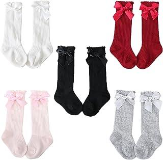 Pack de 5 Pares Calcetines altos de bebé niña con lazo, 0-4 Años