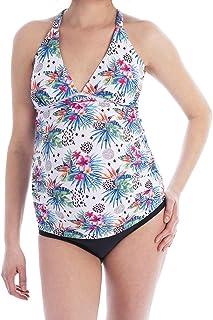 Oceanlily Cross Back Maternity Swimwear-Pregnancy Swimsuits-Bathing Suit-Maternity Tankini Top